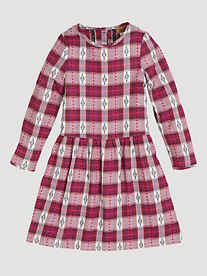 Girl's Three Quarter Sleeve Button-Back Plaid Dress
