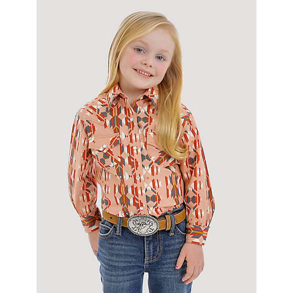 Girl's Long Sleeve Aztec Print Western Snap Shirt