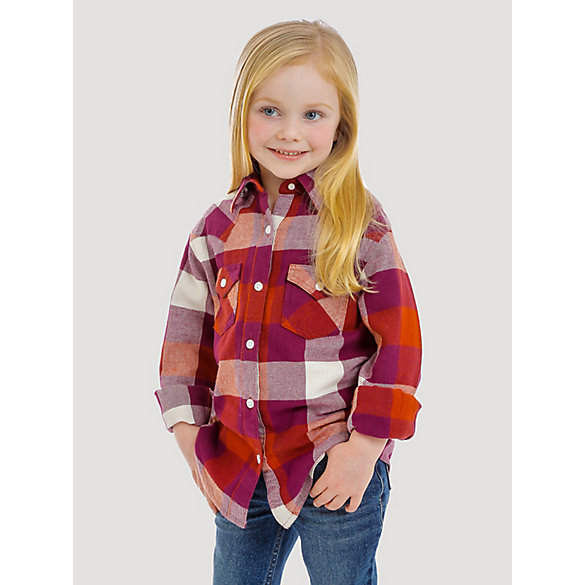 Girl's Long Sleeve Flannel Plaid Button-Down Shirt