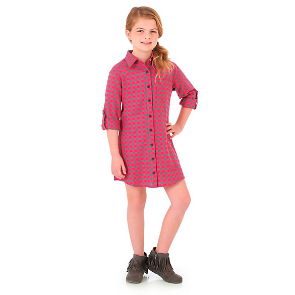 Girl's Long Sleeve Buffalo Plaid Button Down Flannel Shirt Dress