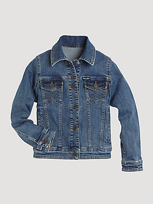 Girl's Long Sleeve Denim Trucker Jacket