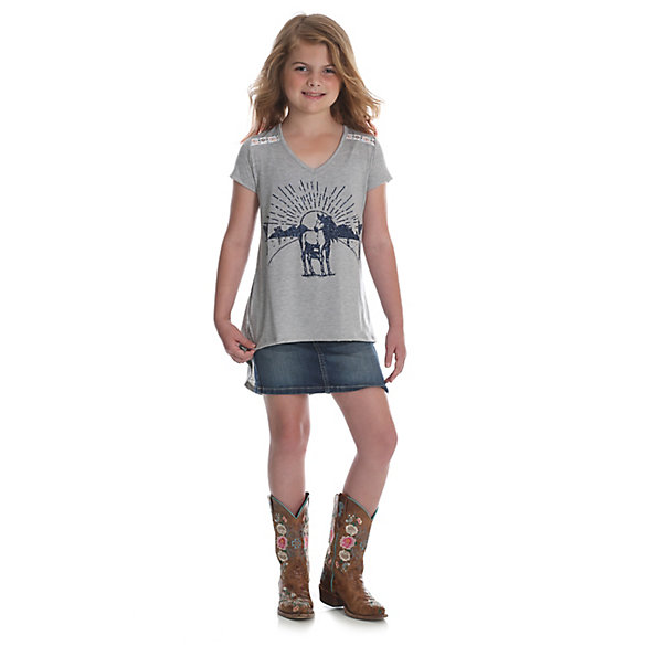 Girl's Short Sleeve Horse Graphic T-Shirt with Hi Lo Hem
