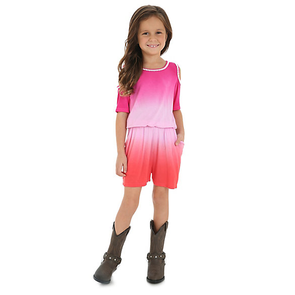 Girl's Short Sleeve Cold Shoulder Ombre Romper