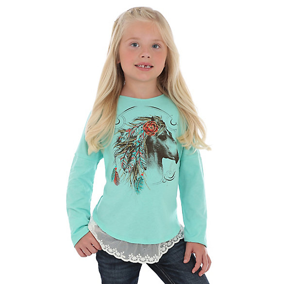 Girl's Long Sleeve Lace Hem Horse Graphic Tee