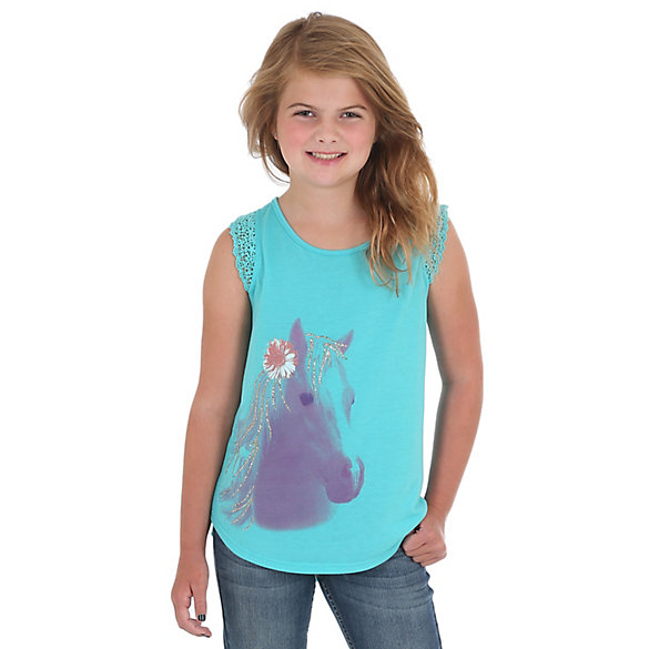 Girl's Cap Sleeve Horse Graphic T-Shirt