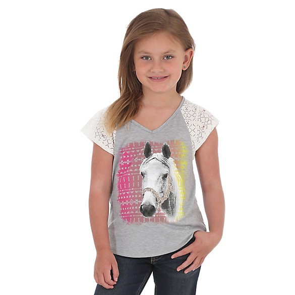 Girl's V-Neck Horse Graphic T-Shirt with Lace Sleeves