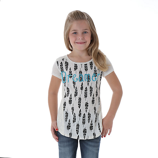 Girl's Short Sleeve Printed Top with Lace Insets at Sideseams