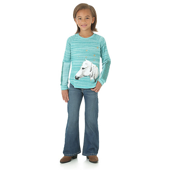 Girl's Long Sleeve Horse Graphic Shirt