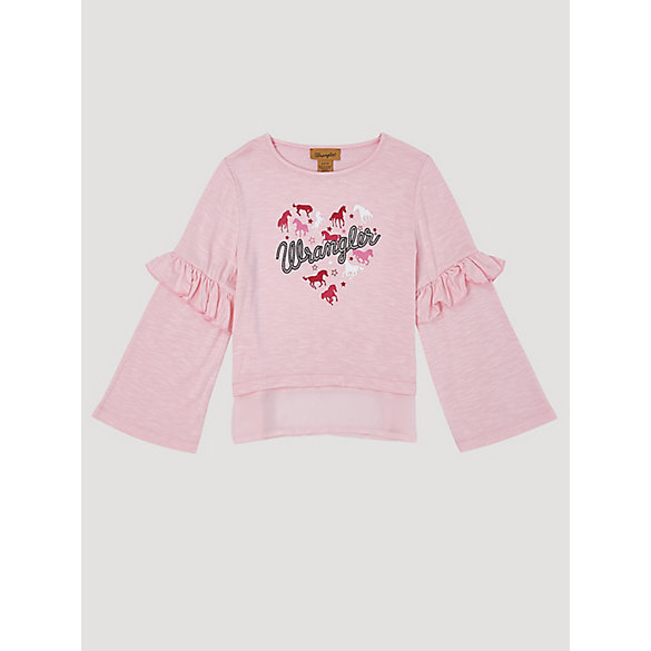 Girl's Long Sleeve Chiffon Hem Heart Graphic T-Shirt