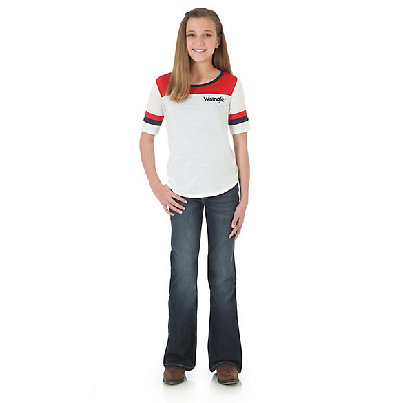 Girl's Three Quarter Sleeve Colorblocked T-Shirt