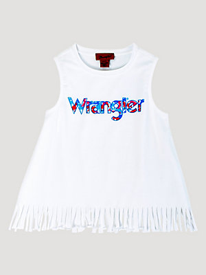 Girl's Sleeveless Fringe Hem Logo Tank Top
