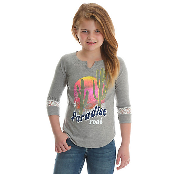 Girl's Long Sleeve Graphic Tee with Lace Sleeve Insets