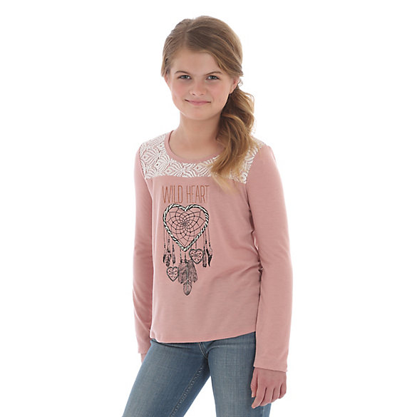Girl's Wrangler® Long Sleeve Wild Heart Graphic T-Shirt