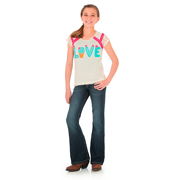 Girl's Short Sleeve Love Graphic Tee with Lace Sleeves