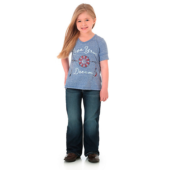 Girl's Short Sleeve Live Your Dream Graphic V-Neck Tee
