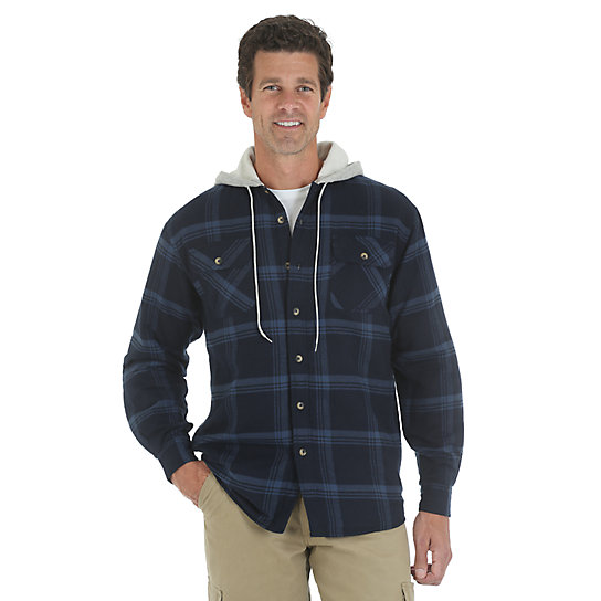 Wrangler® Hooded Heavyweight Lined Shirt - Total Eclipse
