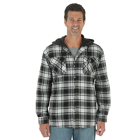 Wrangler® Hooded Heavyweight Lined Shirt - Caviar (Big Sizes)