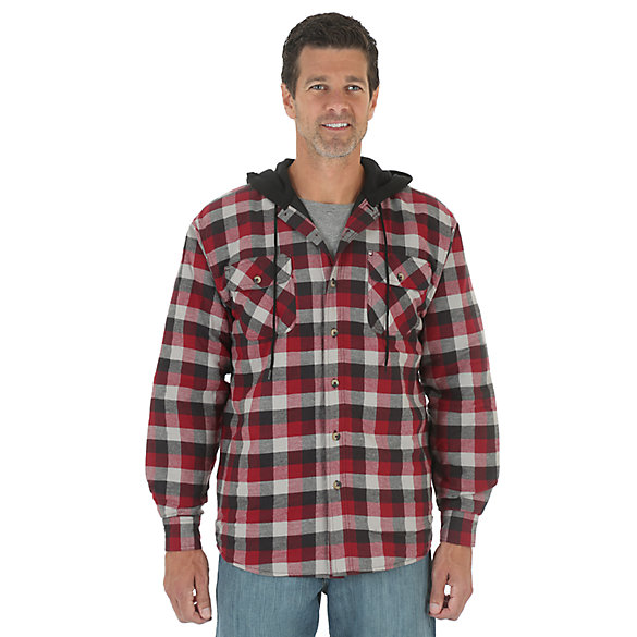 Wrangler® Hooded Heavyweight Lined Shirt - Biking Red (Big Sizes)