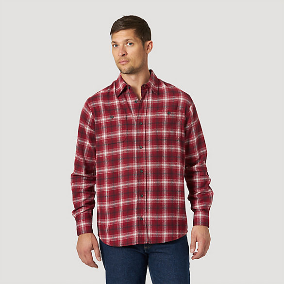 Men's Wicking Long Sleeve Button Down Flannel Plaid Shirt