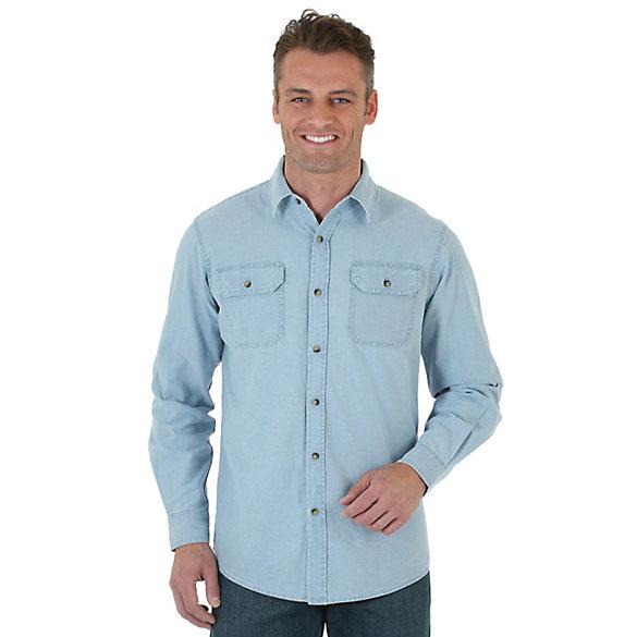 wrangler long sleeve twill chambray shirt mens shirts