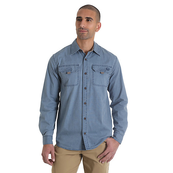 Men's Long Sleeve Button Down Solid Canvas Shirt