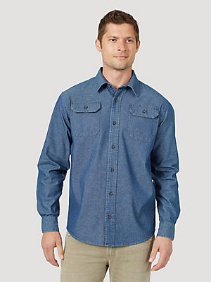 Men's Wrangler® Long Sleeve Twill/Denim Shirt