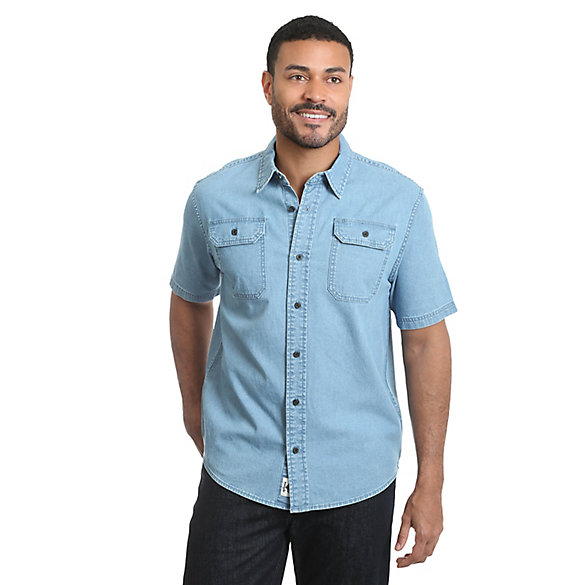 Men's Short Sleeve Stretch Denim Button Down Shirt