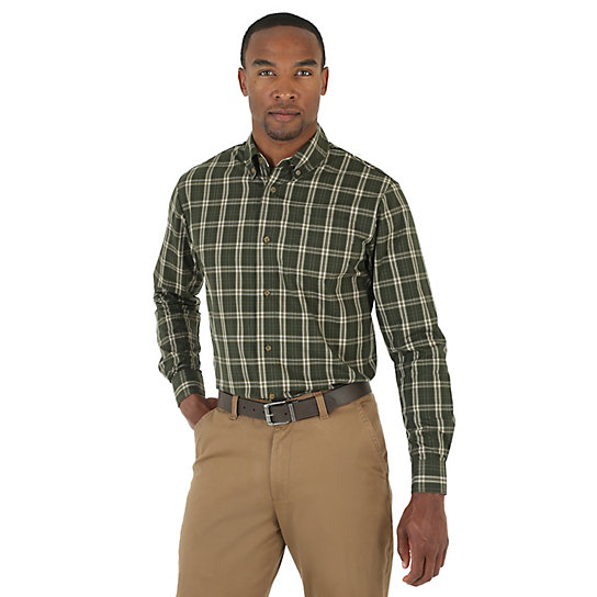 Wrangler wrinkle resist short and long sleeve button down for Big and tall button up shirts