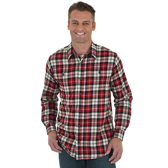 Wrangler® Long Sleeve Button Down Flannel Plaid Shirt