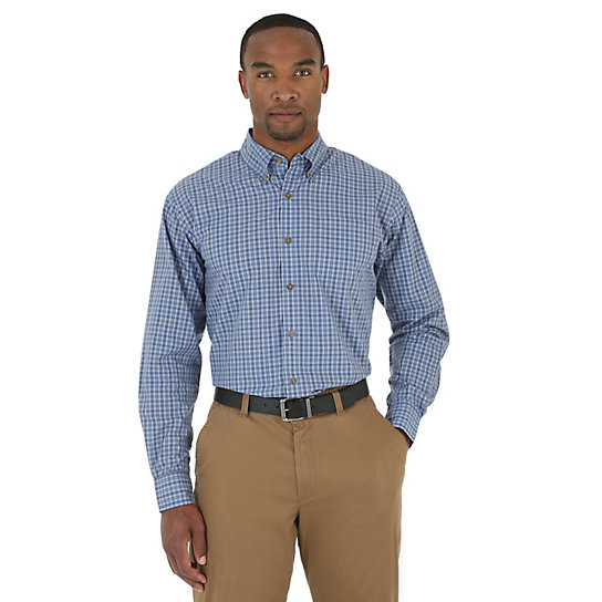 Wrangler® Wrinkle Resist Short and Long Sleeve Button Down Plaid Shirts
