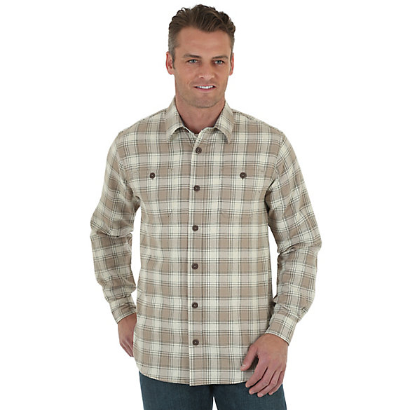 Wrangler® Long Sleeve Button Down Flannel Plaid Shirt (Big & Tall Sizes)
