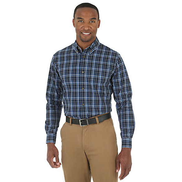 Wrangler® Wrinkle Resist Long Sleeve Button Down Plaid Shirts