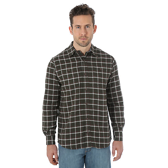 Wrangler® Long Sleeve Flannel Plaid Shirt - Rosin