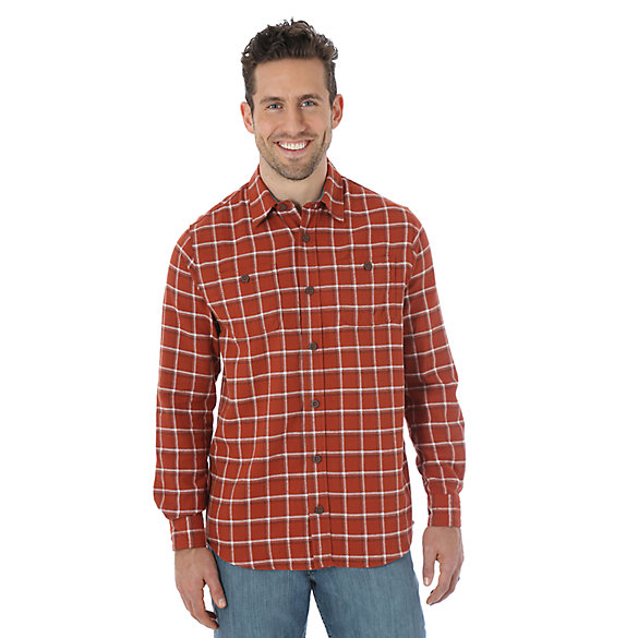 Wrangler® Long Sleeve Flannel Plaid Shirt - Burnt Henna