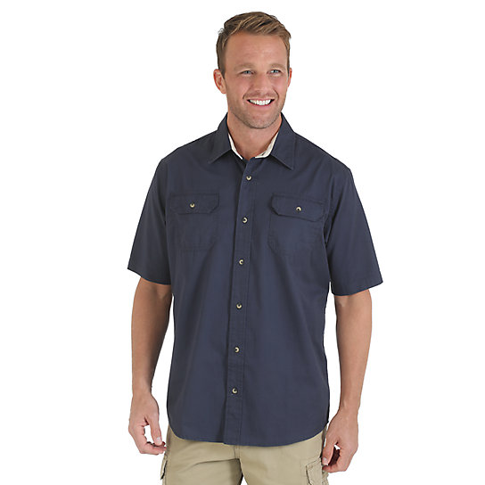 Wrangler® Solid Short Sleeve Twill/Chambray Spread Collar Shirt (Big & Tall Sizes)