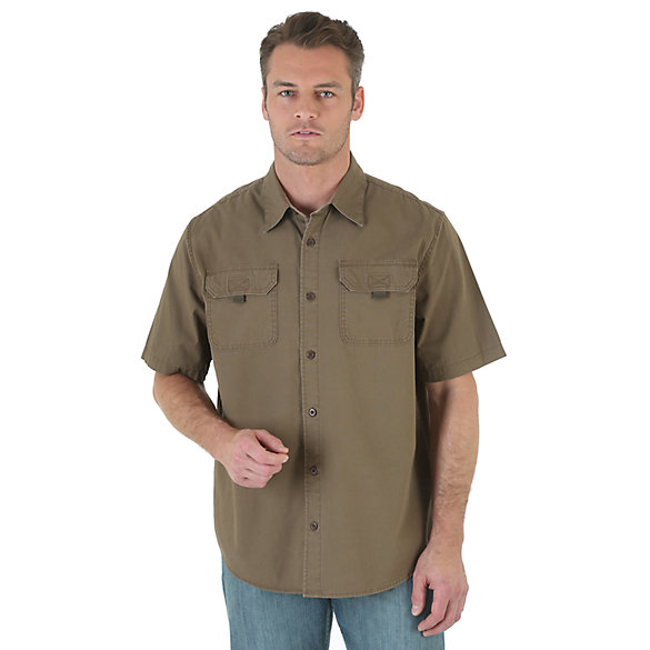 Wrangler® Solid Short Sleeve Canvas Shirt (Big Sizes)
