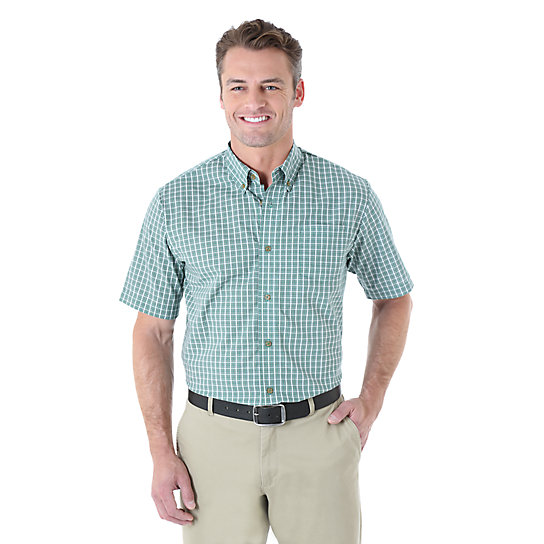 Wrangler® Short Sleeve Wrinkle Resist Plaid Shirt - Verdant Blue