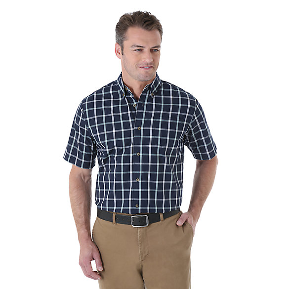 Wrangler® Short Sleeve Wrinkle Resist Plaid Shirt - Total Eclipse