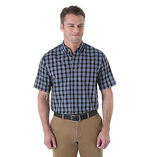 Wrangler® Short Sleeve Wrinkle Resist Plaid Shirt - Caviar