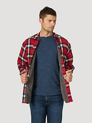 Men's Wrangler® Heavyweight Plaid Sherpa Lined Shirt Jacket