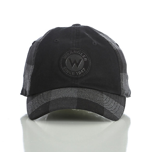 Men's Plaid Back Leather Patch Cap