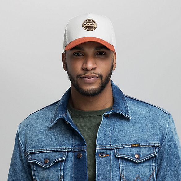 Men's Leather Logo Patch Trucker Cap