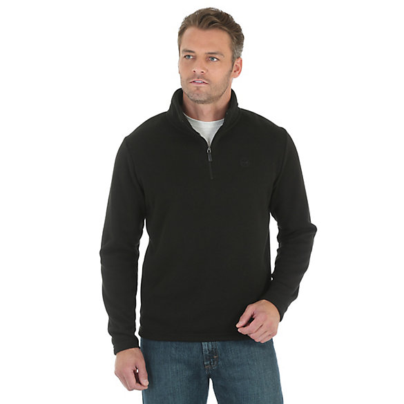 Wrangler® Long Sleeve Knit 1/4 Zip Front Solid Jacket