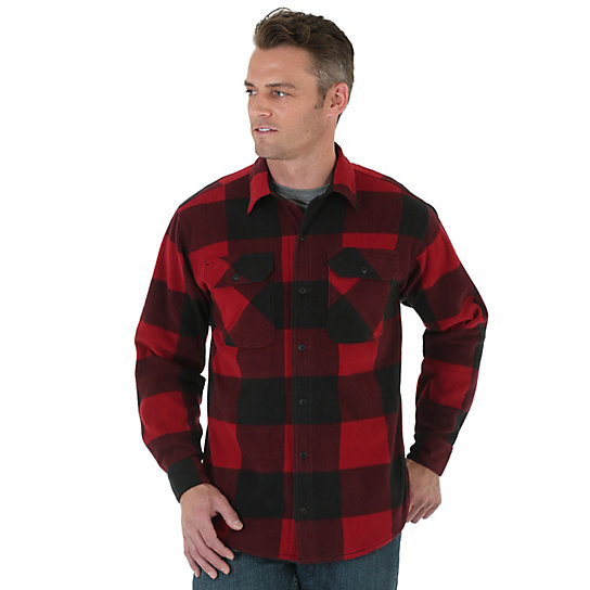 Wrangler® Long Sleeve Button Down Plaid Fleece Shirt
