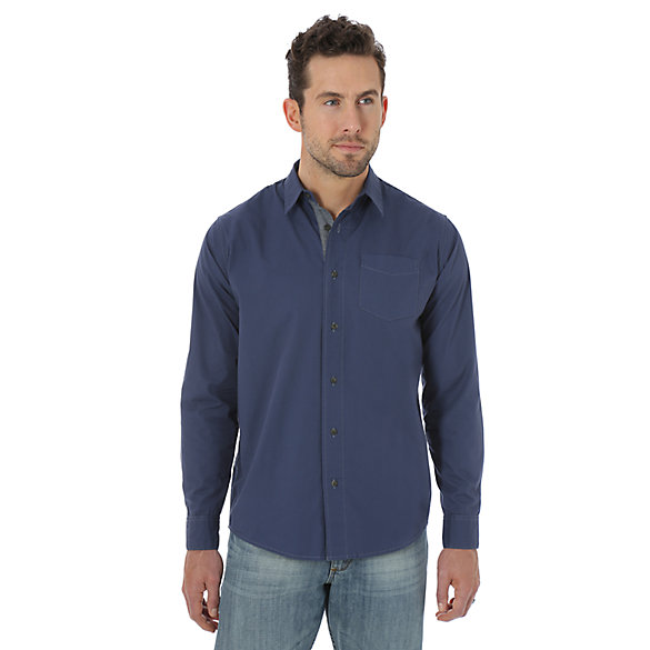 Wrangler Jeans Co.® Long Sleeve Woven Solid Shirt - Dark Denim
