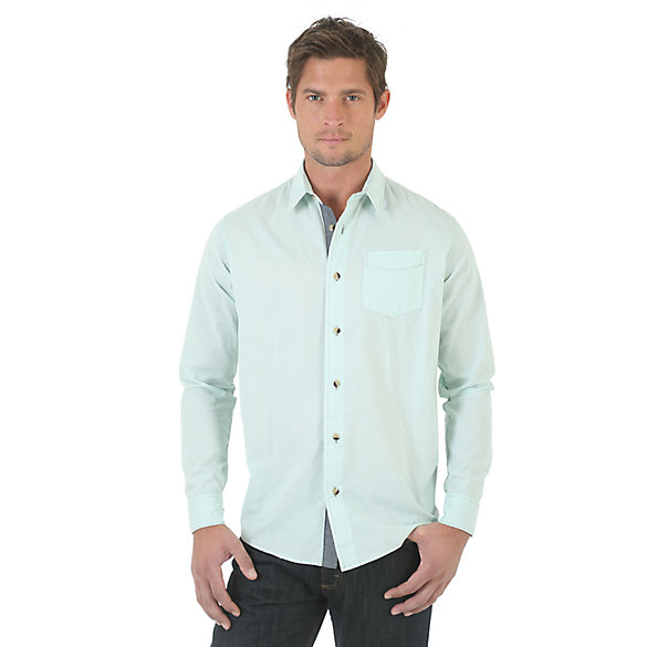 Wrangler Jeans Co.® Long Sleeve Solid Shirt - Opal Blue