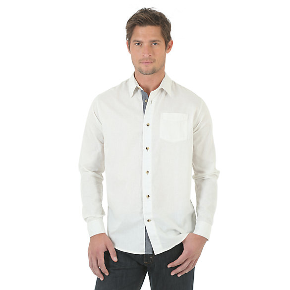 Wrangler Jeans Co.® Long Sleeve Solid Shirt - Vaporous Gray