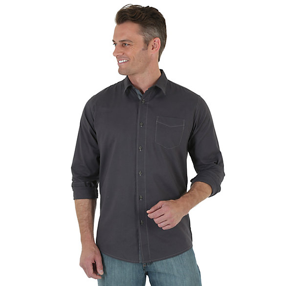 Wrangler Jeans Co.® Long Sleeve Button Down Solid Shirt (Big Sizes)