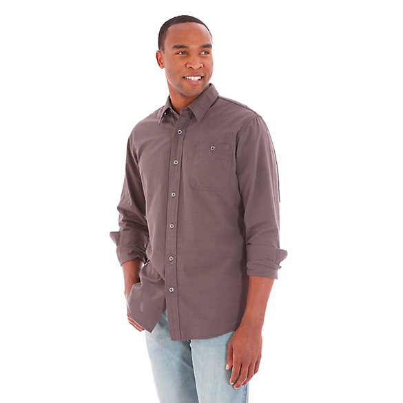 Men's Wrangler Jeans Co.® Button Down Long Sleeve One Pocket Solid Shirt (Big Sizes)
