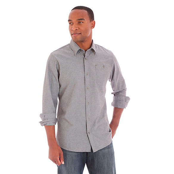 Men's Wrangler Jeans Co.® Button Down Long Sleeve Solid Shirt (Big ...